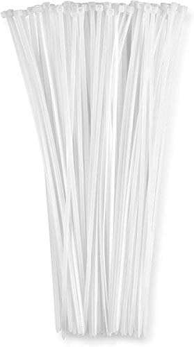 Zip Ties White (100 Pack), 40lb Strength, Nylon Cable Wire Ties