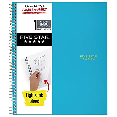 Five Star Spiral Notebook, 1 Subject, Graph Ruled Paper