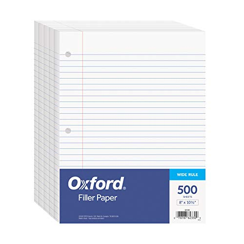 Oxford Filler Paper, 8 x 10-1/2 Inch Wide Ruled Paper