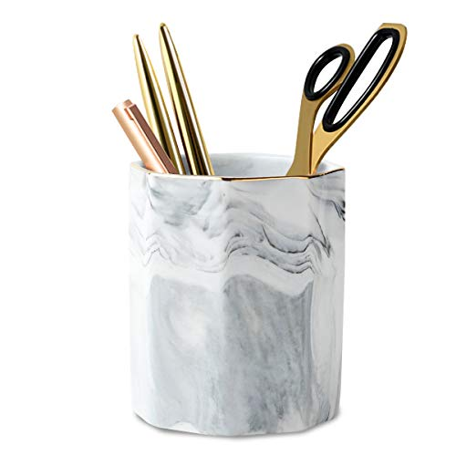 WAVEYU Pen Holder, Stand for Desk Marble Pattern Pencil Cup