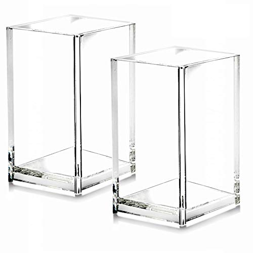 2 Pack Clear Acrylic Pencil Pen Holder Cup
