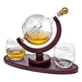 Whiskey Decanter Globe Set with 2 Etched...
