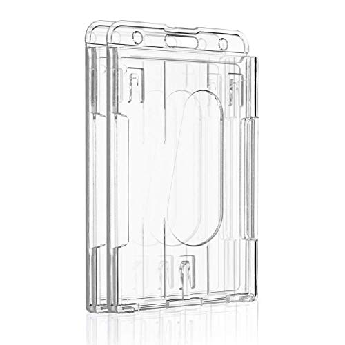 Pawfly Vertical 2 Card Badge Holder Transparent Plastic ID