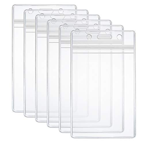 6 Pcs Extra Thick ID Card Badge Holder, Vertical Clear PVC Card Holder
