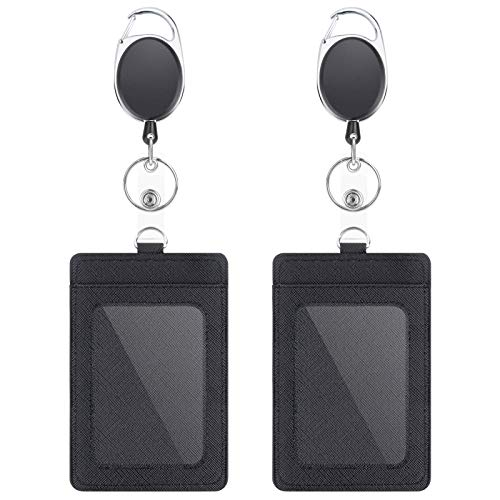 2 Pack Badge Holders and Heavy Duty Retractable Reel Clips Set