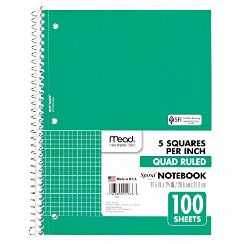 Mead Spiral Notebook, 1 Subject, Quad Ruled