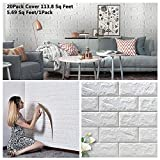 Arthome 3D Faux Brick Wall Panels 20Pack...