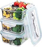 Glass Meal Prep Containers 3 Compartment...