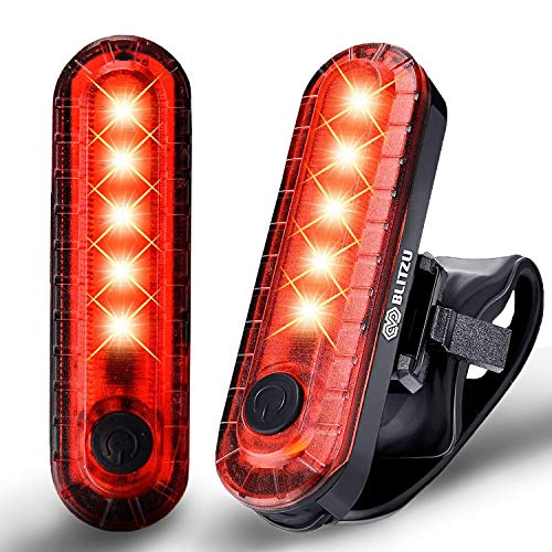 BLITZU Bike Tail Lights 2 Pack, Cyborg 120T Bright Red LED Bicycle Rear Light