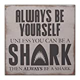 wonbye Wooden Signs with Sayings, Shark...