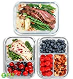 1 & 2 & 3 Compartment Glass Meal Prep...