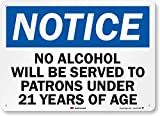 'Notice - No Alcohol Will Be Served to...