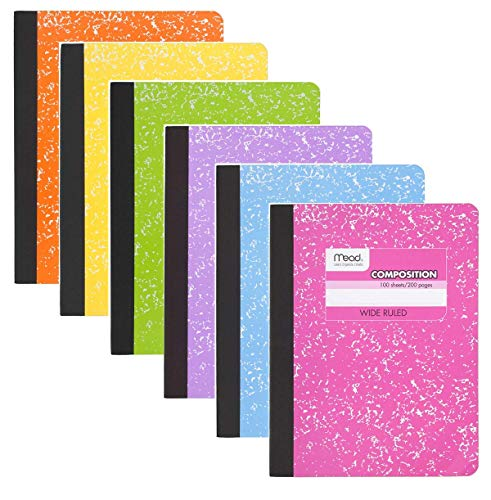 Mead Composition Book, 6 Pack of Wide Ruled Composition Notebooks